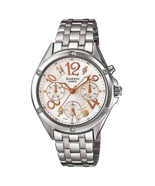 CASIO SHEEN SHE-3031D-2A繽紛霓虹時尚腕錶/淡金色35mm
