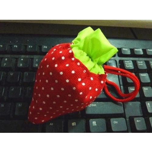 【G13062502】加厚折疊草莓環保袋/折疊式