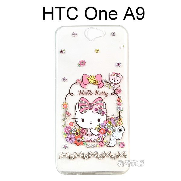 Hello Kitty 彩鑽透明軟殼 [花園] HTC One A9【三麗鷗正版授權】