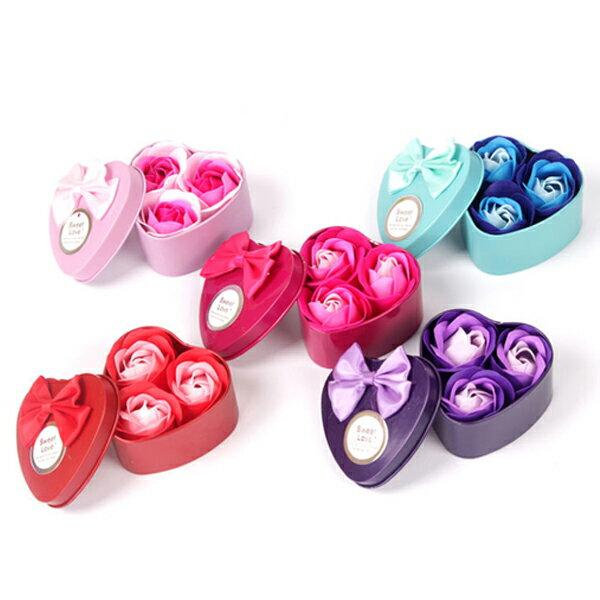 心型鐵盒3朵玫瑰香皂花 禮品 婚禮小物 情人節 母親節