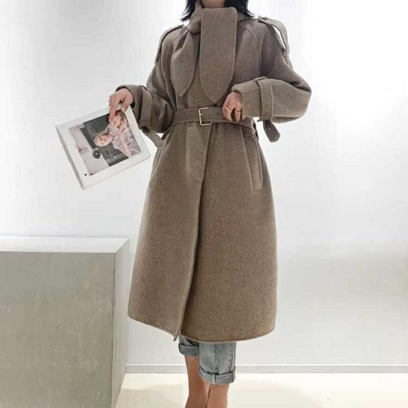 毛呢大衣羊毛外套-長版駝色繫帶兔子領女外套73wb11【獨家進口】【米蘭精品】 1