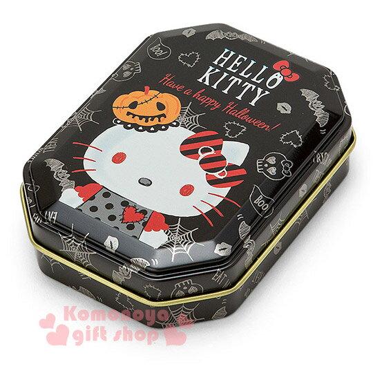 〔小禮堂〕Hello Kitty 日製八角形收納鐵盒~小.黑.南瓜帽.LOGO~2016萬