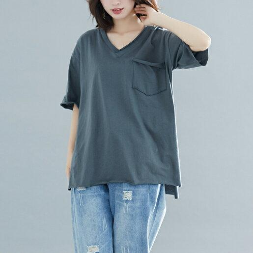 V領T恤寬鬆上衣(4色F碼)【OREAD】 0