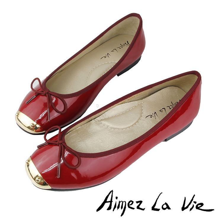 金屬方頭鏡面平底娃娃鞋(兩色)Aimez La Vie - 限時優惠好康折扣