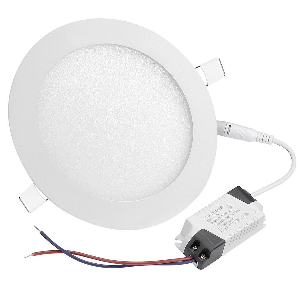 DELight Set of 10pcs 12W Round LED Ceiling Flat Panel Light Recessed Downlight 6000-6500K 960LM 1