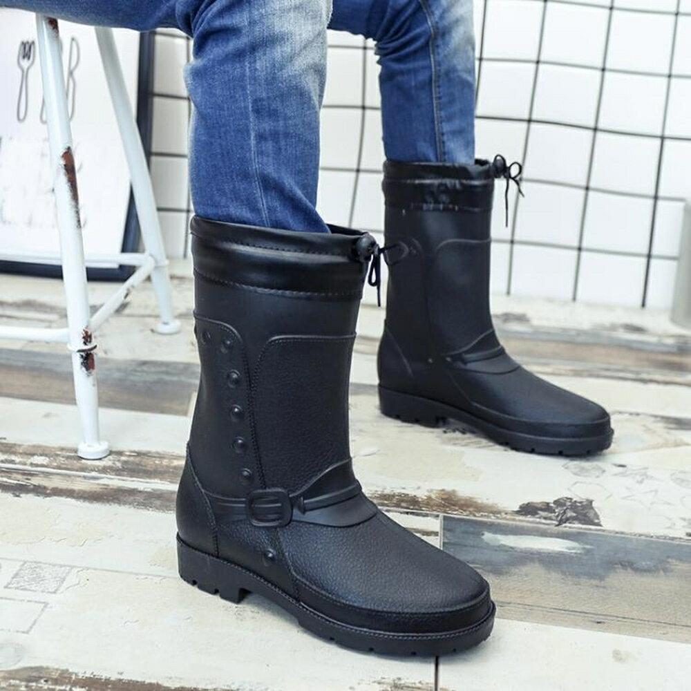中筒雨鞋男水靴雨靴膠鞋棉水鞋