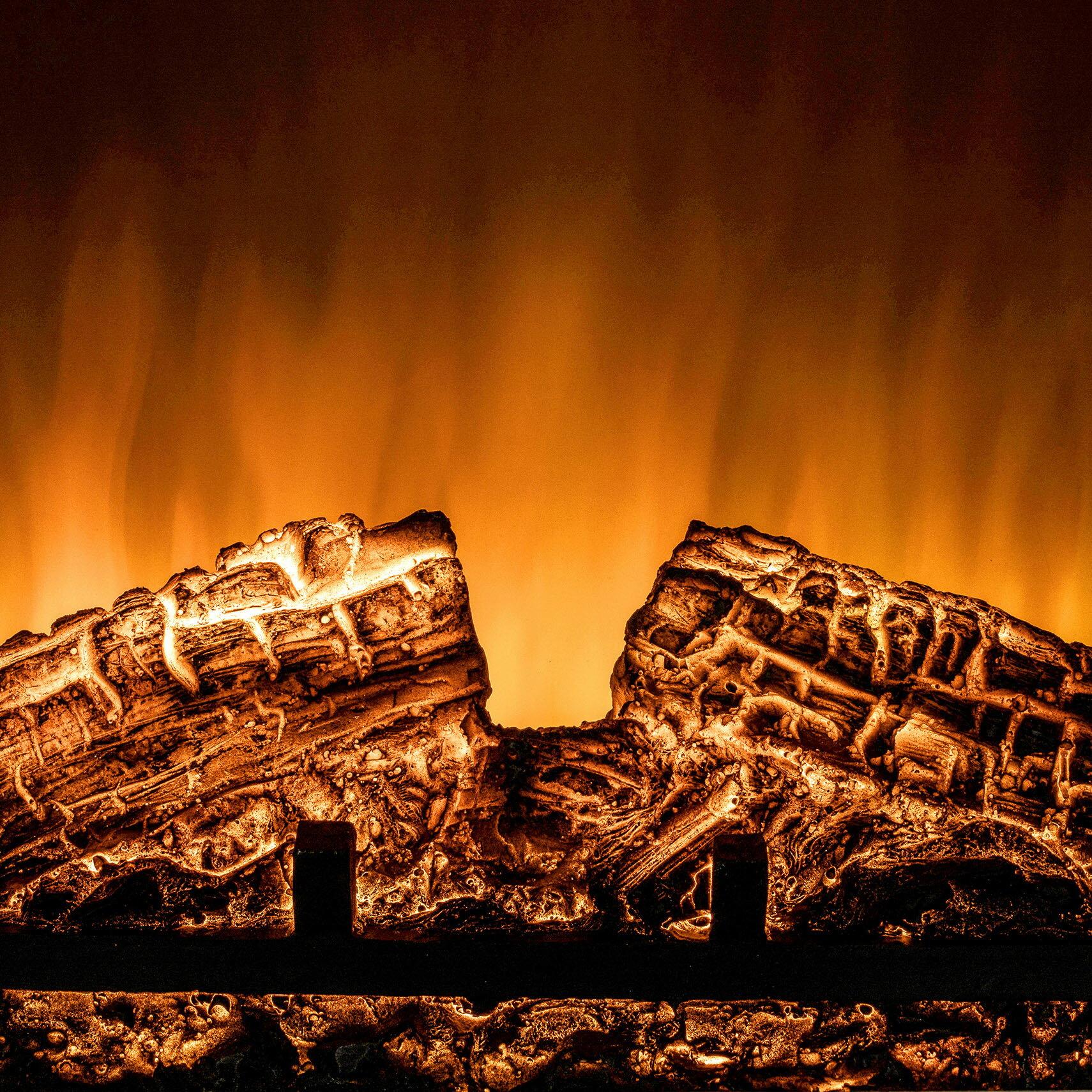 "AKDY 20"" Brown Finish Freestanding Portable Electric Fireplace Firebox w/ Log Heater 6"