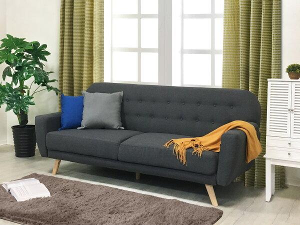 !新生活家具!《巴德》深灰沙發床亞麻布三人座三人沙發布沙發橡膠木布扣三段調節簡約現代時尚