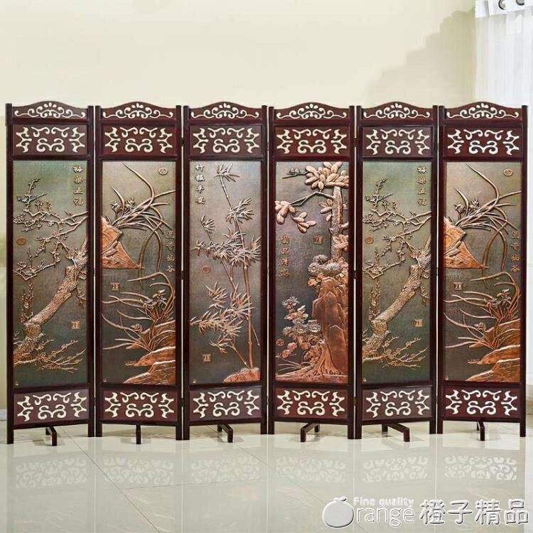 屏風隔斷實木客廳酒店行動玄關折屏中式簡易現代簡約折疊裝飾屏風♠極有家♠