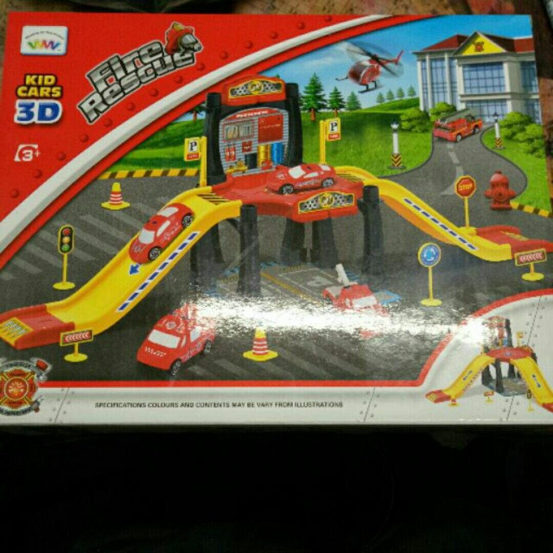 滑行賽車/消防軌道停車場 玩具 好玩