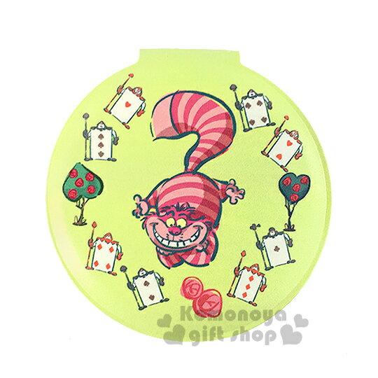 〔小禮堂〕迪士尼 妙妙貓 皮革圓型隨身鏡《綠.撲克牌.手繪》放大雙面鏡