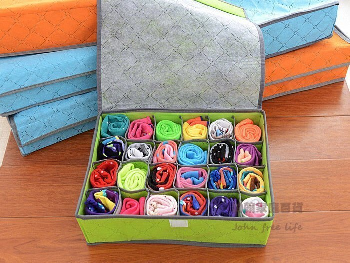 約翰家庭百貨》【SA110】24格彩色有蓋竹炭收納盒 內褲收納盒 襪子收納盒 隨機出貨 換季收納