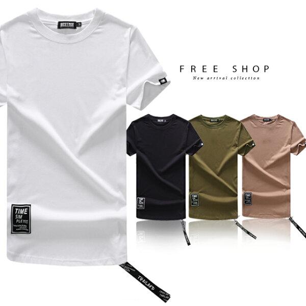 FreeShop側邊拉鏈棉質圓領短T下擺布標吊環造型潮流T恤潮T長版T男女情侶款台灣製造MIT【QJFJ8717】