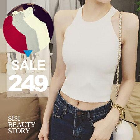 SISI~U5015~性感美型 削肩無袖背拉鍊露肚臍短款半截緊身小可愛修身針織背心上衣