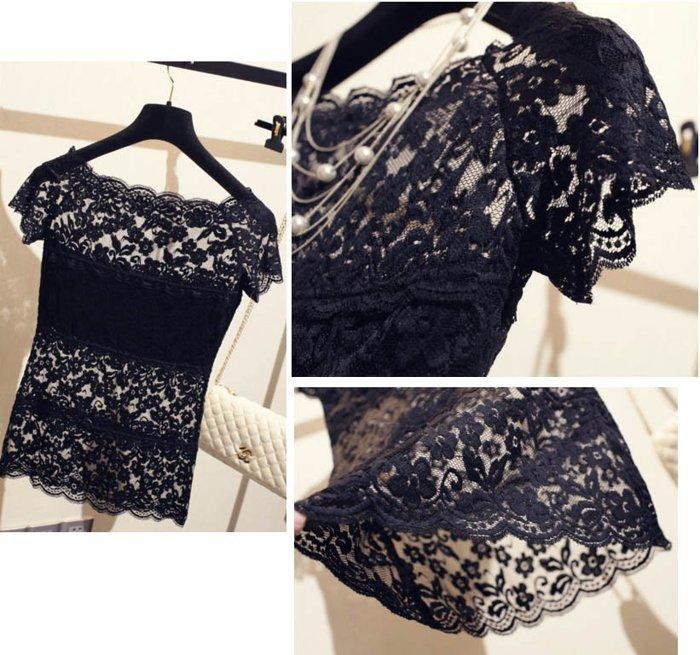 來福上衣,H607上衣夏季全蕾絲感鏤空短袖打底衫內搭外穿T恤上衣,售價199元
