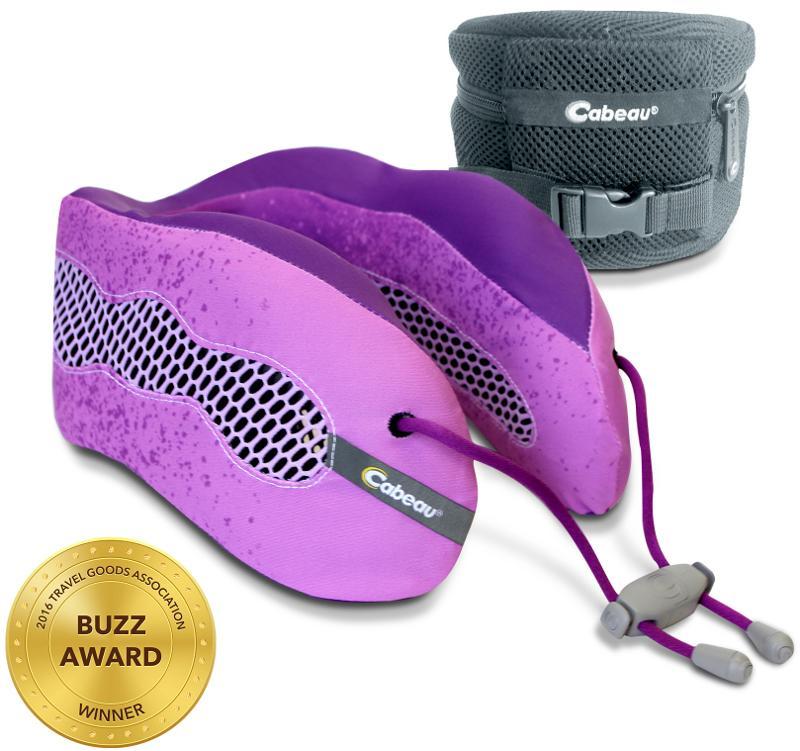 Cabeau 酷涼記憶棉頸枕/飛機靠枕/旅行枕/旅行頸枕 可拆洗/可壓縮收納 紫紅
