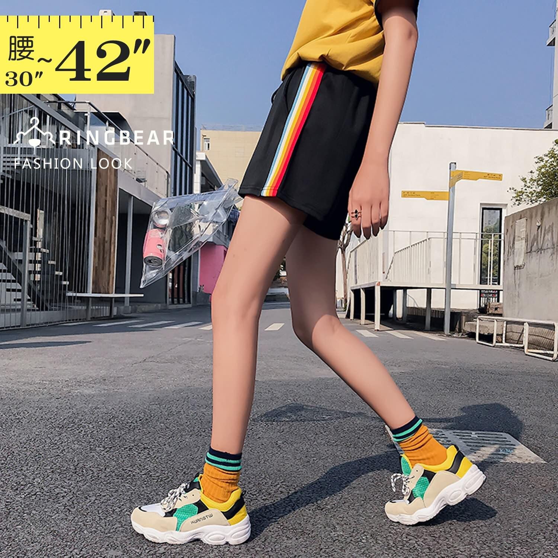 運動褲--青春活力運動女孩彩色線條鬆緊綁帶寬鬆雙口袋短褲(黑L-3L)-R234眼圈熊中大尺碼 1