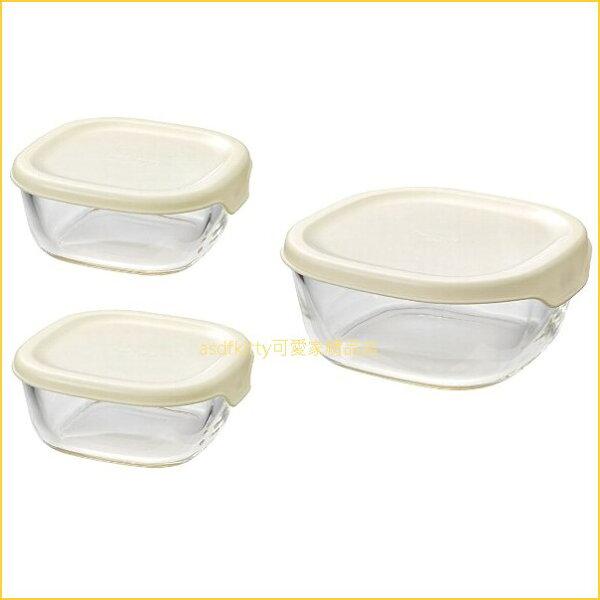 asdfkitty可愛家☆HARIO日本製-3入白蓋方型玻璃保鮮碗-可微波-日本製