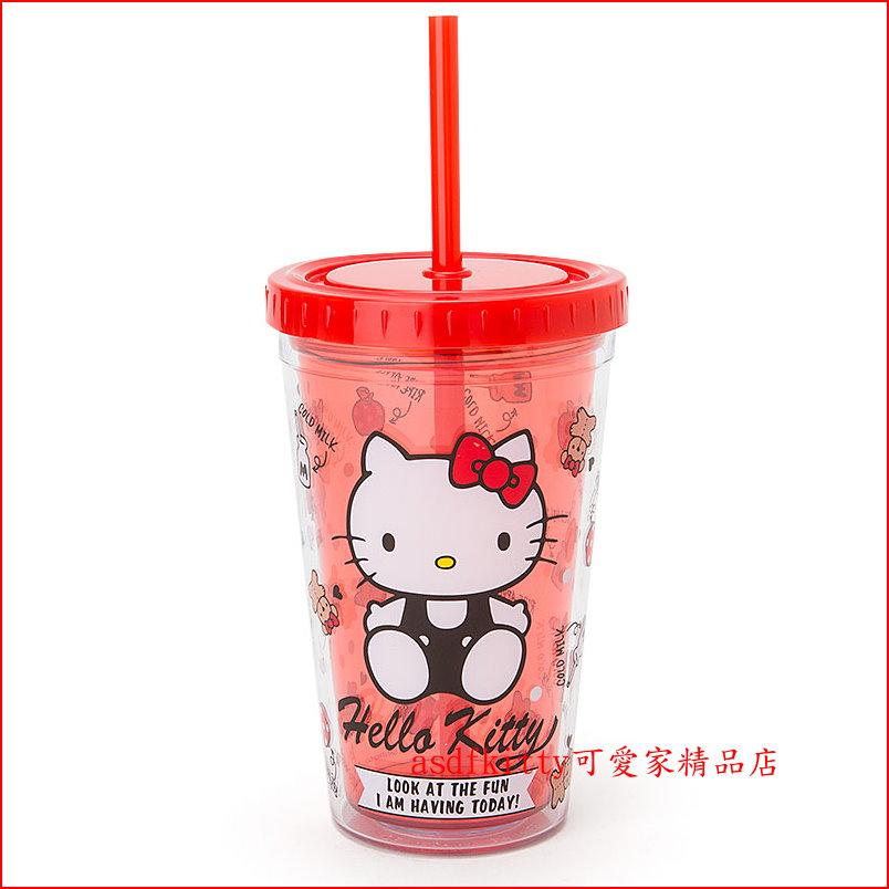 asdfkitty可愛家☆KITTY紅色有蓋有吸管雙層透明杯-300ml-當水杯.飲料杯-日本正版商品