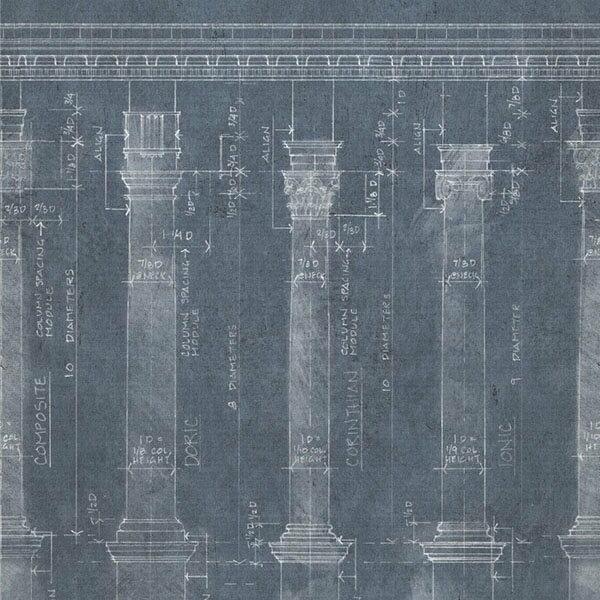 Mind the Gap / Colonnade Blue WP20023 壁紙「訂貨單位156cm x 3m/套(1套3張壁板)」藍色 設計圖 復古風 工業風