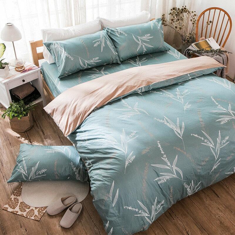 床包  /  雙人加大-100%精梳棉【柳葉輕淺】含兩件枕套 戀家小舖 好窩生活節  台灣製 3