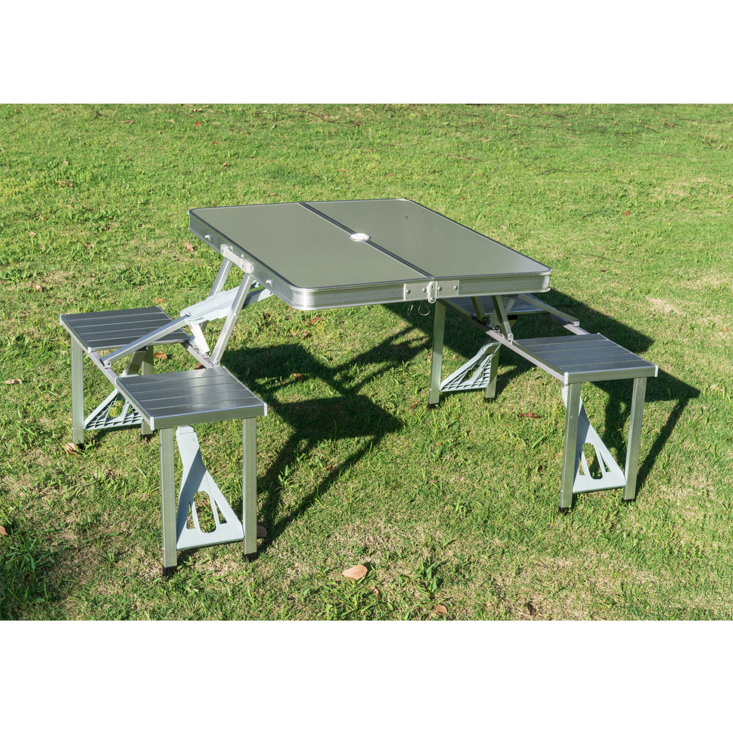 Outsunny Outdoor Aluminum Portable Folding Camp Suitcase Picnic Table with 4 Seats, Silver 1