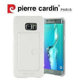[ Samsung Note5 ] Pierre Cardin法國皮爾卡登高級牛皮經典卡袋真皮手機殼/保護殼/皮套  白色