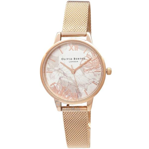 OLIVIABURTONOB16VM11迷霧金絲花香玫瑰金色金屬網狀錶帶30mm女錶【錶飾精品】