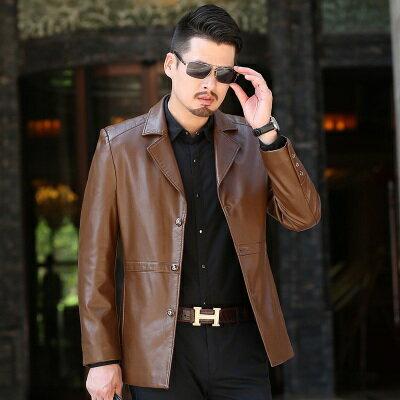 ★皮衣夾克外套-西裝領純色商務春秋男夾克4色73pn10【獨家進口】【米蘭精品】 1