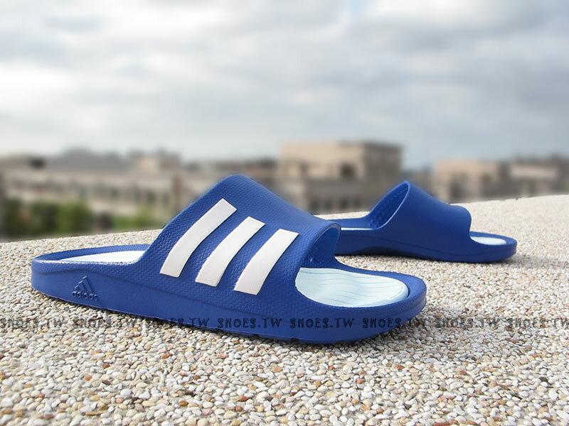 Shoestw【S82839】ADIDAS COMFORT SLIDE 拖鞋 軟Q底 深藍水藍 女生尺寸