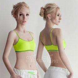 居家服內睡衣  運動背心 輕量細肩帶運動無鋼圈內衣S-XL(螢光綠)  【SV5899】快樂生活網