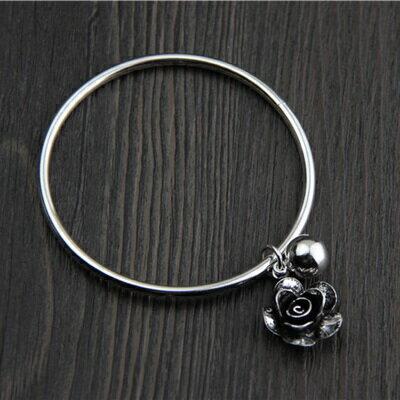 ~純銀手環 復古泰銀手鍊~ 獨特玫瑰花生日情人節 女飾品73gg69~ ~~米蘭 ~