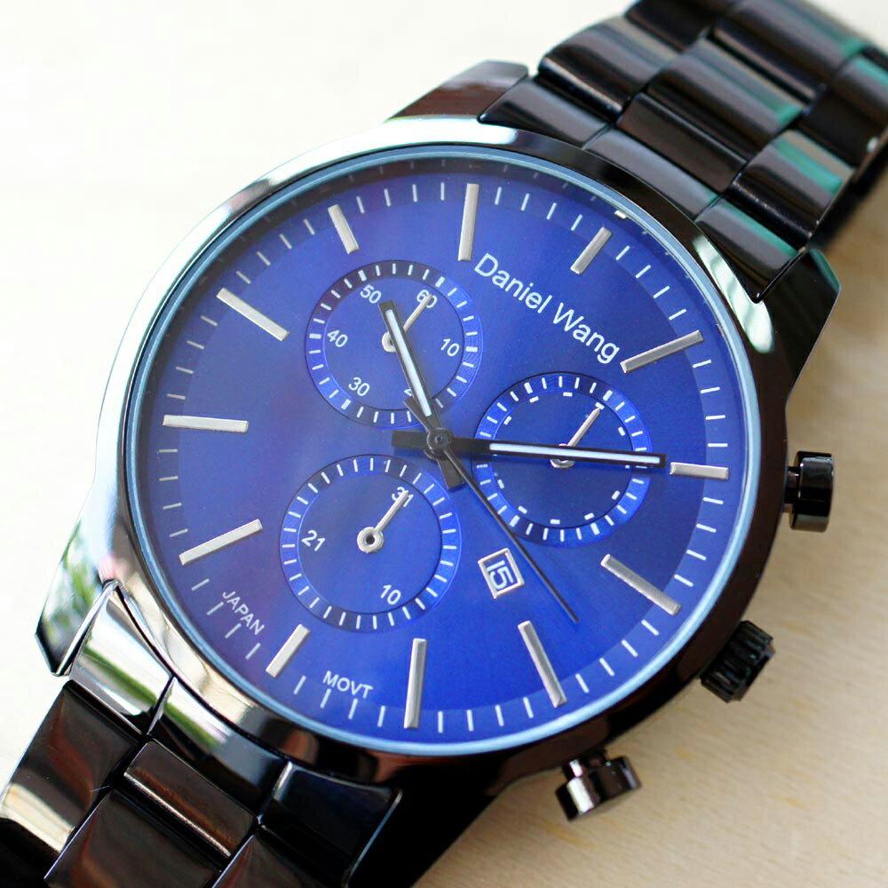 Daniel Wang 3136-IP 霸氣大錶面經典仿三眼石英黑框金屬男錶 3
