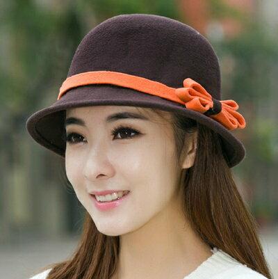 ☆漁夫帽 毛呢帽-英倫復古優雅蝴蝶結女帽子5色72b8【獨家進口】【米蘭精品】 0