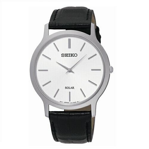 SEIKOCS極簡風格時尚腕錶大碼白面x黑皮SUP873P1(V115-0BE0S)