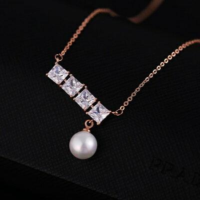 玫瑰金項鍊 珍珠純銀吊墜~典雅風尚簡約水晶七夕情人節 女飾品73dw123~ ~~米蘭 ~