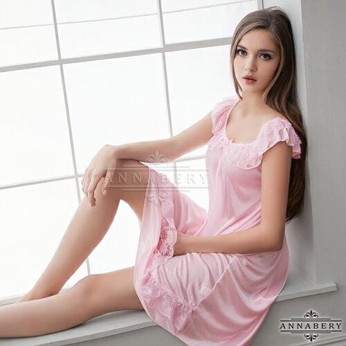 【紫星情趣用品】大尺碼Annabery粉嫩清甜微露香肩柔緞睡衣(PNA09020022)