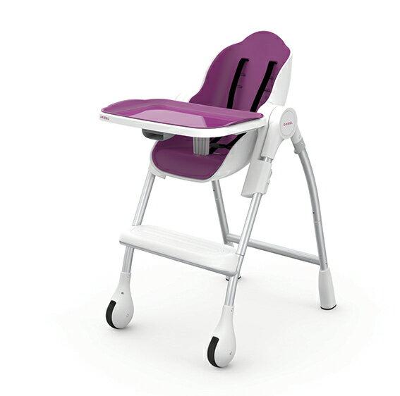 【淘氣寶寶】Oribel Cocoon 時尚機能高腳餐椅 紫色【公司貨】贈【慕之恬廊 Mustela 多慕雙潔乳200ml】