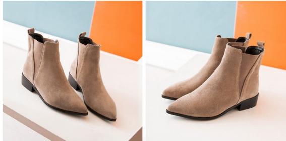 尖頭 短靴真皮純色百搭 方跟女靴子低跟