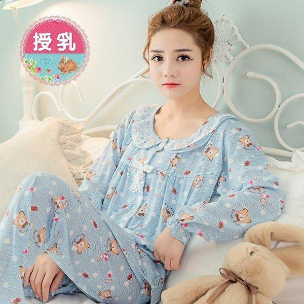 *漂亮小媽咪*LOVE BEAR 可愛熊熊 長袖 哺乳衣 睡衣 套裝 月子服 哺乳裝 B7008