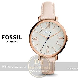 FOSSIL美國品牌Jacqueline經典復古羅馬品味淑女腕錶-棉花糖粉ES3988公司貨/禮物