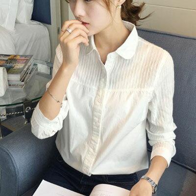 長袖襯衫 壓紋娃娃領長袖襯衫 M~XL【S-17-0019】LYNNSHOP