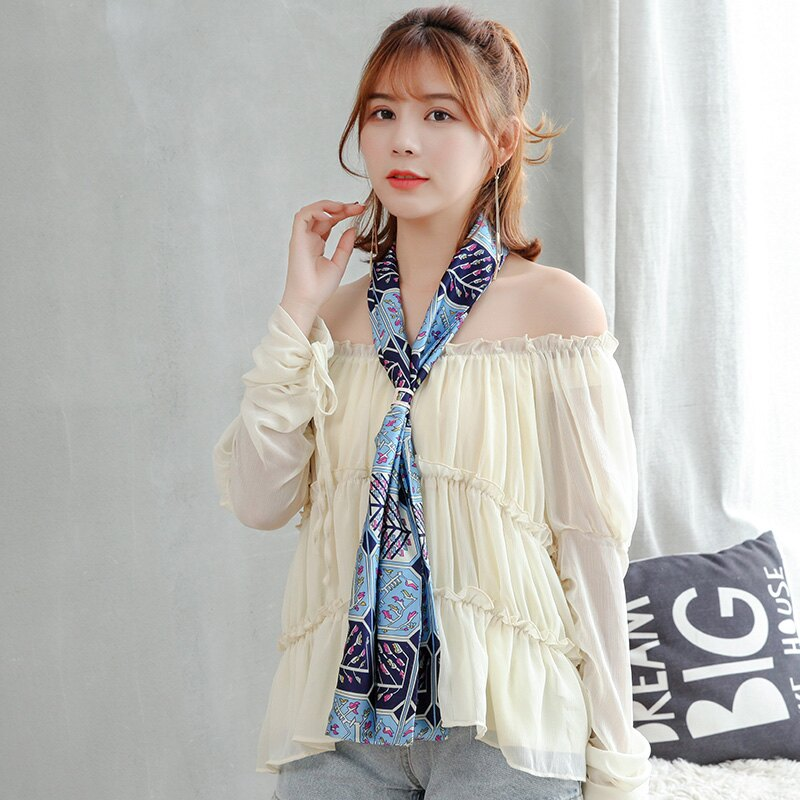 絲巾女春秋季百搭長細窄韓國領巾裝飾文藝領帶圍巾小方巾領帶