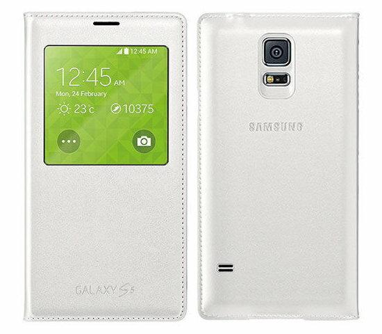 SAMSUNG GALAXY S5 G900I原廠S View側掀皮套 視窗感應式手機皮套【東訊盒裝】-白色