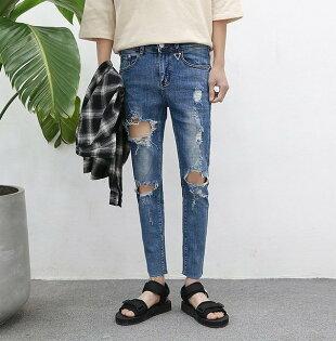 FINDSENSE元素高端牛仔破壞牛仔褲褲子大破壞修身不規則毛邊復古牛仔提供加大碼破壞加肥訂做