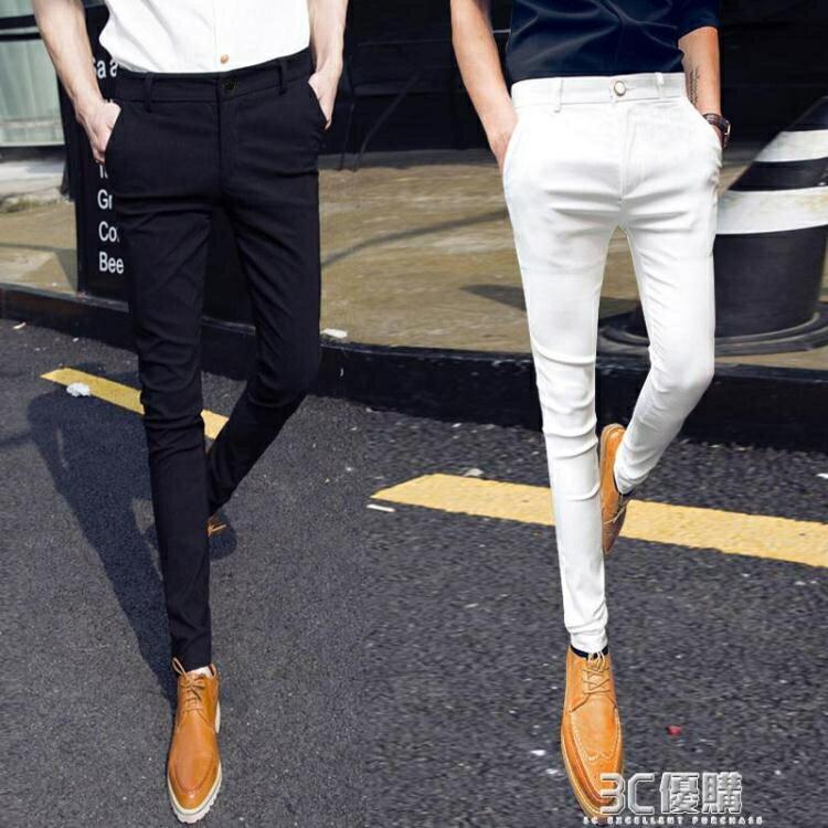 西裝褲西褲男春夏季韓版潮流修身男士休閒長褲子小腳西裝褲九分西褲黑色