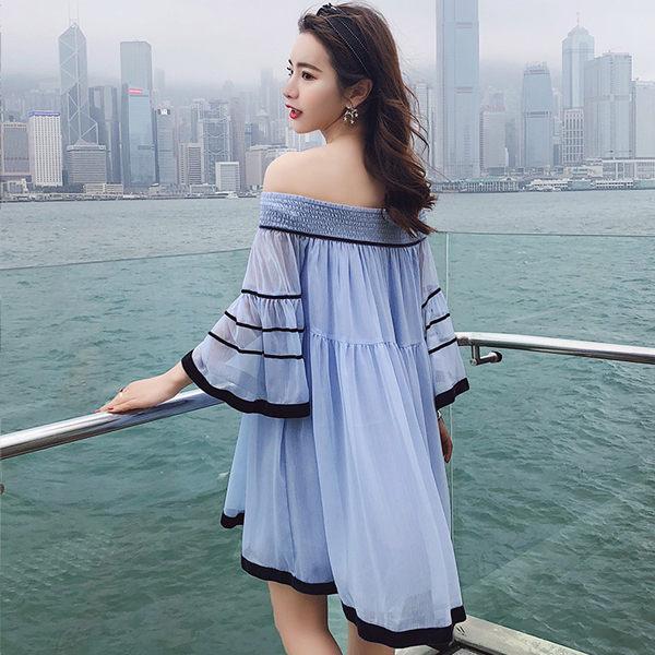 PSMall度假一字領寬鬆雪紡ins超仙連身裙洋裝【T322】