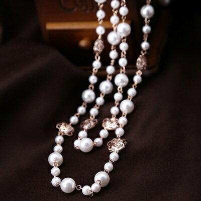 玫瑰金項鍊 珍珠純銀吊墜~波希米亞風百搭多層玫瑰花生日情人節 女飾品73dw38~ ~~米