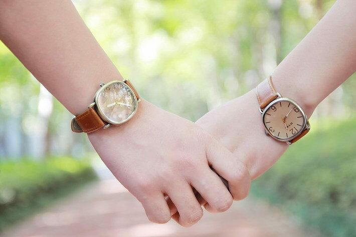 簡約復古中性PU皮革方形錶 情侶款