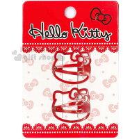 凱蒂貓週邊商品推薦到〔小禮堂〕Hello Kitty 兒童造型髮夾《2入.紅.大臉型》甜美可愛